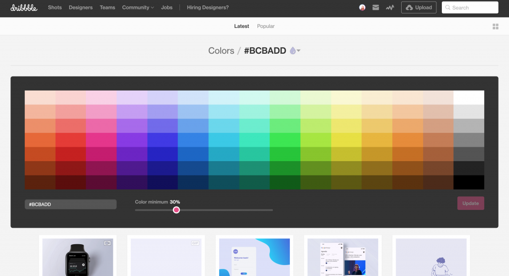 Screen shot of expanded color search for the hex code #BCBADD with a minimum color percentage of %30