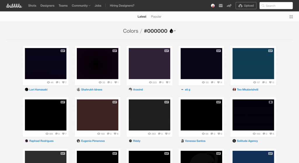 Screenshot of Dribbble color search of #000000 with the color minimum percentage at 100%
